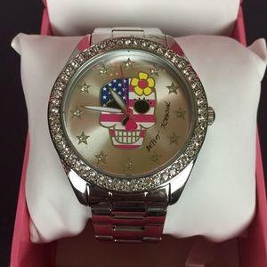 Betsy Johnson Silver Skull Flag Diamond Watch
